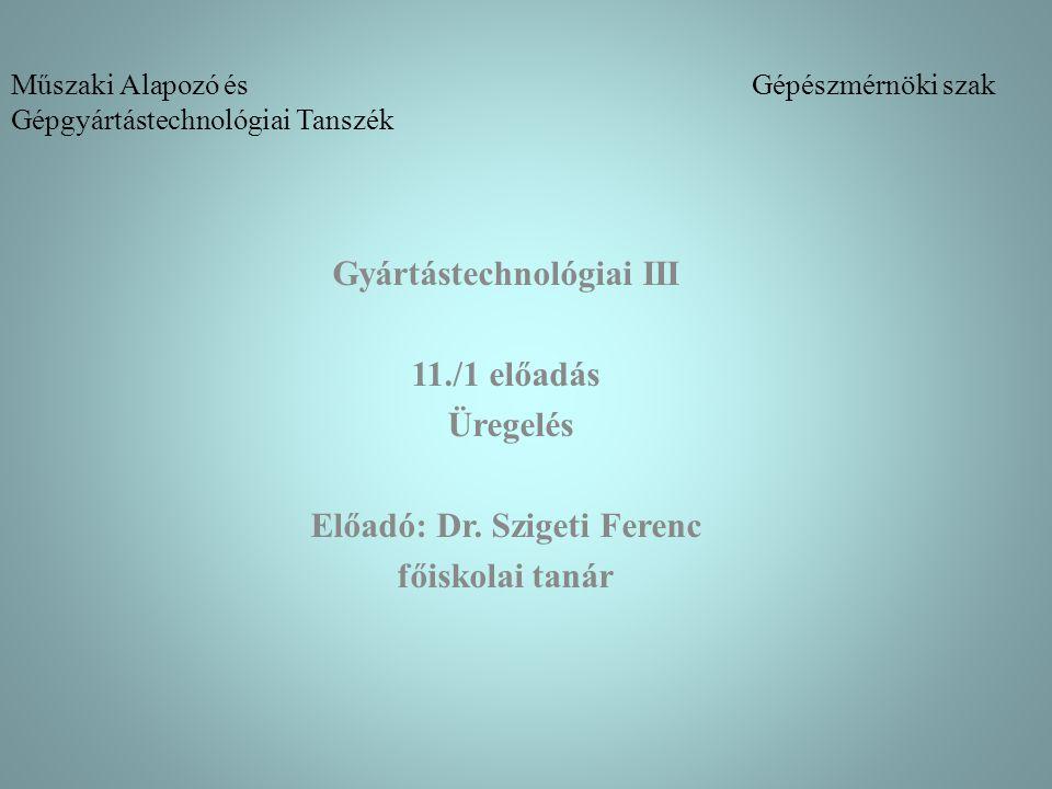 Műszaki Alapozó és Gépészmérnöki szak Gépgyártástechnológiai Tanszék Gyártástechnológiai III 11./1 előadás Üregelés Előadó: Dr. Szigeti Ferenc főiskol
