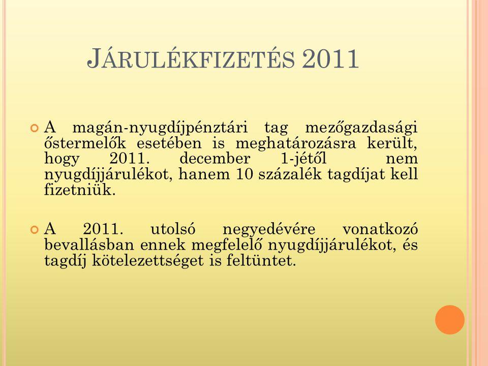J ÁRULÉKFIZETÉS 2011 A magán-nyugdíjpénztári tag mezőgazdasági őstermelők esetében is meghatározásra került, hogy 2011.