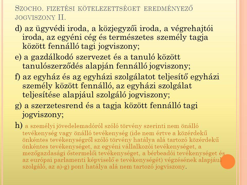 S ZOCHO.FIZETÉSI KÖTELEZETTSÉGET EREDMÉNYEZŐ JOGVISZONY II.