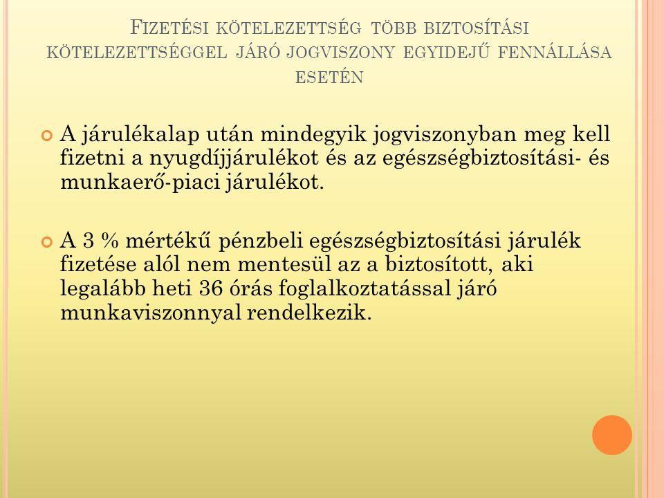 A KIFIZETŐT TERHELŐ S ZOCHO.- NAK NEM ALAPJA : a külföldi állam Magyarországra akkreditált diplomáciai és konzuli képviselete személyzetének külföldi állampolgárságú tagja részére kifizetett, juttatott bevétel; a külföldi állam Magyarországra akkreditált diplomáciai és konzuli képviselete személyzetének külföldi állampolgárságú tagja által munkaviszony keretében háztartási alkalmazottként foglalkoztatott külföldi állampolgár részére kizárólag e jogviszonyára tekintettel, vagy azzal összefüggésben kifizetett, juttatott bevétel; a nemzetközi szervezet nemzetközi szerződés alapján mentességet élvező tisztviselője, alkalmazottja részére kifizetett, juttatott bevétel; a belföldön állandó lakóhellyel, szokásos tartózkodási hellyel, székhellyel, telephellyel, fiókteleppel, kereskedelmi képviselettel vagy a jogszabályban előírt belföldi nyilvántartásba bejegyzésre kötelezett más hasonló telephellyel nem rendelkező kifizető által Magyarországon kiküldetés, kirendelés vagy munkaerő-kölcsönzés keretében munkaviszonyban foglalkoztatott olyan – bevándorolt vagy letelepedett jogállással nem rendelkező – magánszemély részére kifizetett, juttatott bevétel (ideértve a munkaszerződésben meghatározott személyi alapbért is), aki harmadik állam állampolgára, feltéve, hogy a foglalkoztatás időtartama nem haladja meg a két évet, valamint az említett feltételek szerinti korábbi foglalkoztatásától számítva a foglalkoztatás ismételt megkezdéséig legalább három év már eltelt; a kifizető által megállapított és folyósított társadalombiztosítási ellátás, valamint az általa folyósított szociális ellátásból a szociális igazgatásról és a szociális ellátásokról szóló törvény szerint nem a kifizetőt terhelő rész; a szerzői jogi védelem, találmányi szabadalmi oltalom, védjegyoltalom, földrajzi árujelzők oltalma, mintaoltalom alatt álló mű, alkotás, valamint az újítás hasznosítására irányuló felhasználási, hasznosítási, használati szerződés alapján a vagyoni jog (védelem alatt álló jog, oltalmi jog) fe