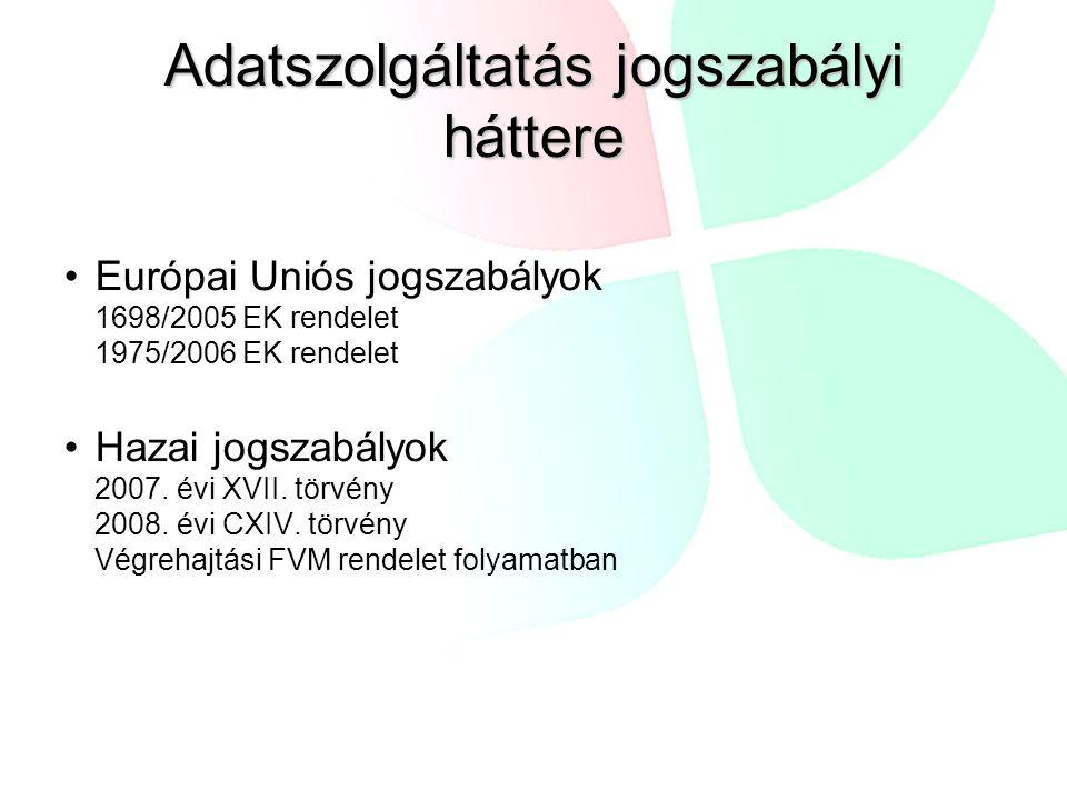 Adatszolgáltatás jogszabályi háttere Európai Uniós jogszabályok 1698/2005 EK rendelet 1975/2006 EK rendelet Hazai jogszabályok 2007.