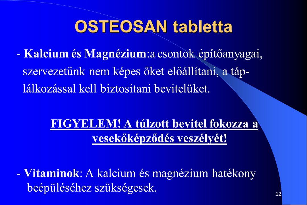 11 OSTEOSAN tabletta Aktív hatóanyagai: Kalcium Magnézium C-vitamin D 3 -vitamin B 6 -vitamin K 1 -vitamin Javasolt napi adag: 3x1 tabletta /Ca 50 %,
