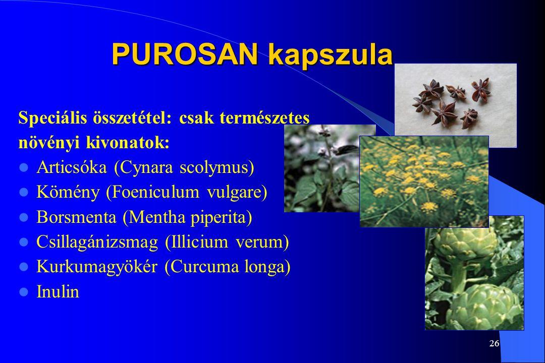 25 PUROSAN kapszula Táplálkozásunk során méreganyagok is bejutnak szervezetünkbe. A mérgeket el kell távolítani. Szervezetünk fő méregtelenítő szerve