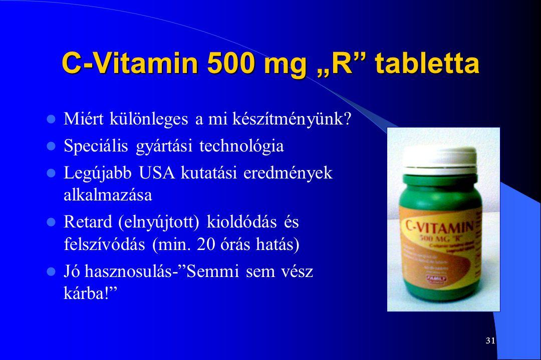 """30 C-Vitamin 500 mg """"R""""tabletta Szent-Györgyi Albert 1927. Szeged 1935. Kémiai Nobel-díj A C-vitamin vízoldékony vitamin, folyamatosan pótolni kell C-"""