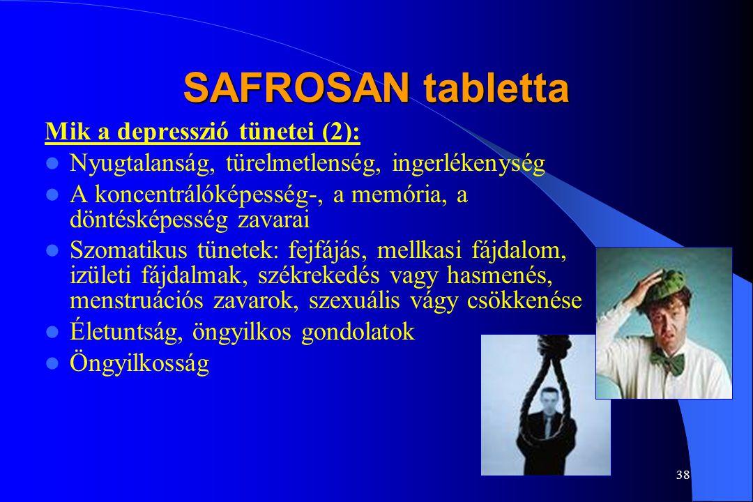 37 SAFROSAN tabletta Mik a depresszió tünetei (1): Állandó fáradtság, szorongás, ürességérzés Reménytelenség, pesszimizmus Önhibáztatás, alacsony önér