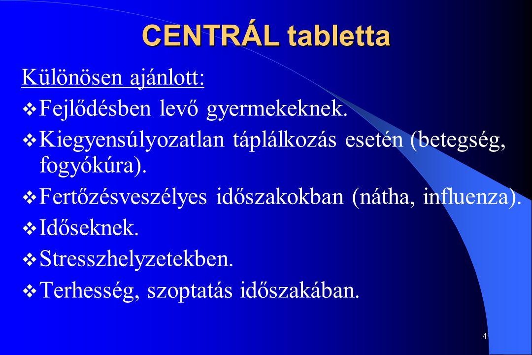 3 CENTRÁL tabletta Családi multivitamin, multiminerál tabletta Vitaminok, ásványi anyagok: szervezetünk nem képes őket előállítani, a táplálkozással k