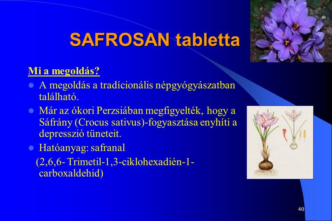39 SAFROSAN tabletta A depresszió jól kezelhető gyógyszerekkel Két fő hatóanyag:  fluoxetine (Prozac)  imipramine (Tofranil) Hatékony készítmények a