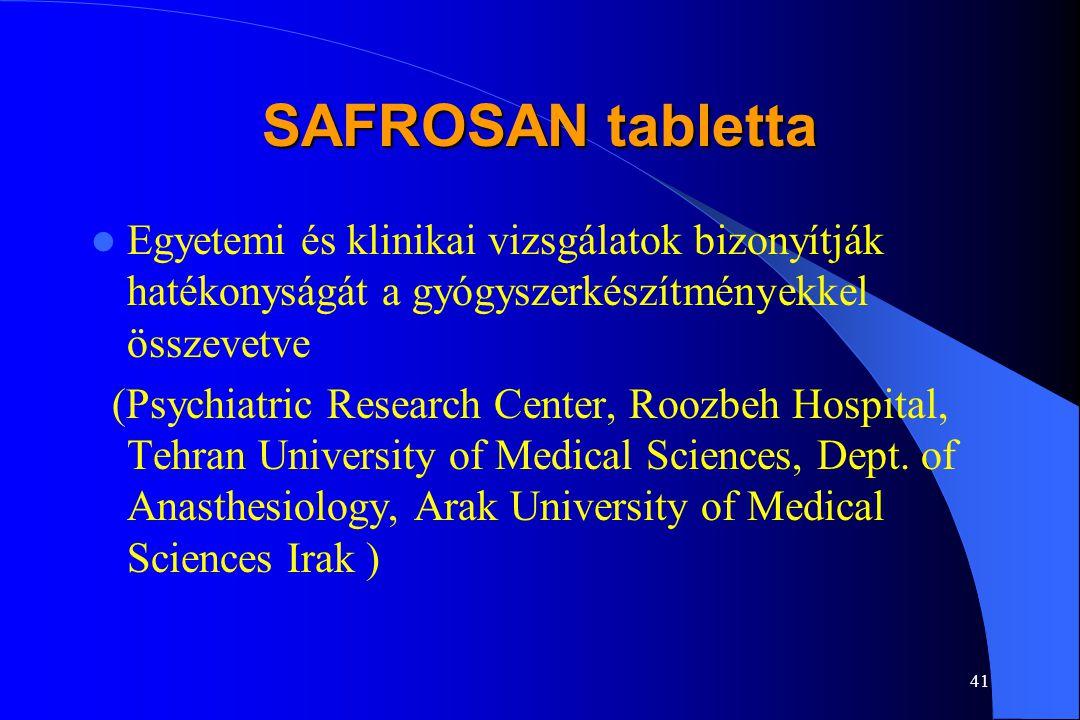 40 SAFROSAN tabletta Mi a megoldás? A megoldás a tradícionális népgyógyászatban található. Már az ókori Perzsiában megfigyelték, hogy a Sáfrány (Crocu