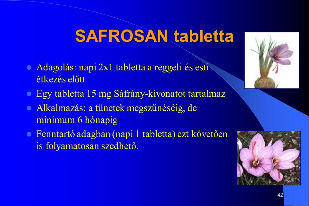41 SAFROSAN tabletta Egyetemi és klinikai vizsgálatok bizonyítják hatékonyságát a gyógyszerkészítményekkel összevetve (Psychiatric Research Center, Ro