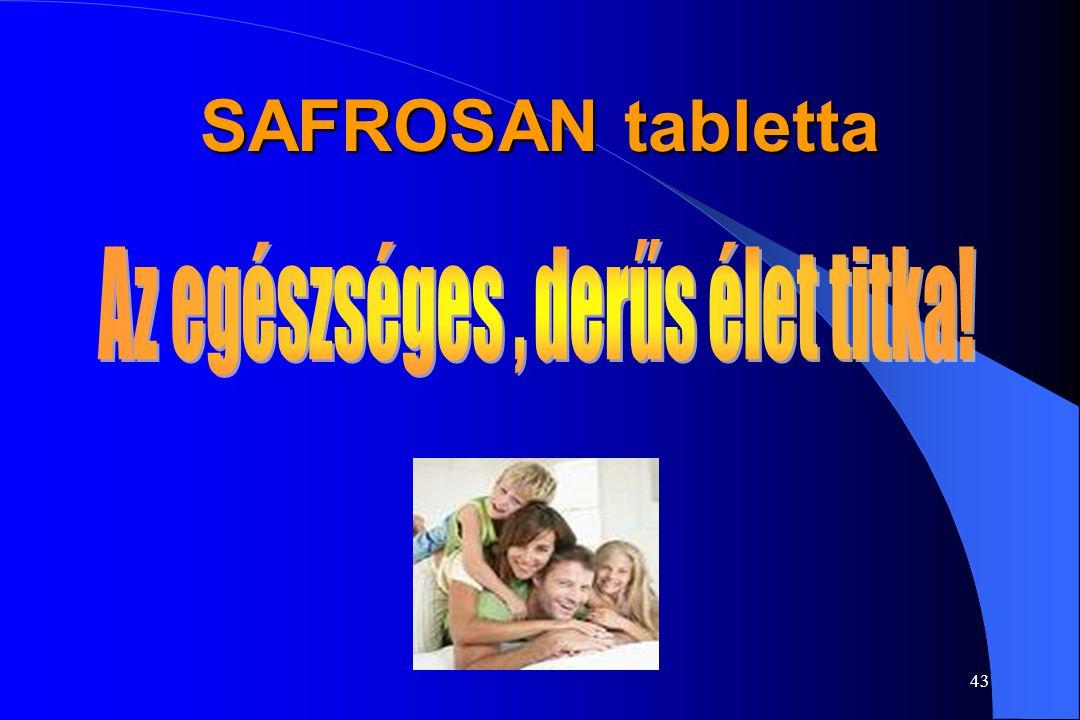 42 SAFROSAN tabletta Adagolás: napi 2x1 tabletta a reggeli és esti étkezés előtt Egy tabletta 15 mg Sáfrány-kivonatot tartalmaz Alkalmazás: a tünetek