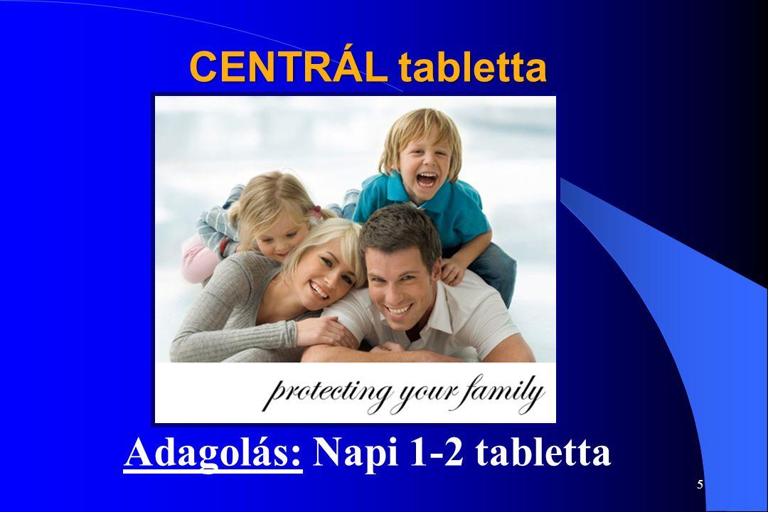 4 CENTRÁL tabletta Különösen ajánlott:  Fejlődésben levő gyermekeknek.  Kiegyensúlyozatlan táplálkozás esetén (betegség, fogyókúra).  Fertőzésveszé