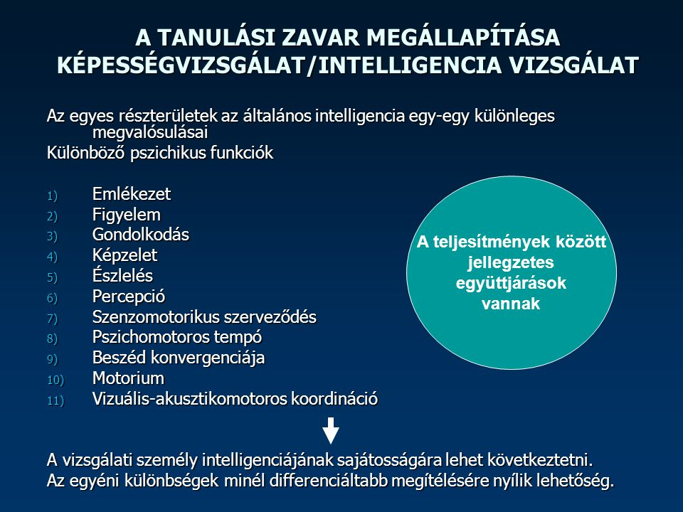 A TANULÁSI ZAVAR MEGÁLLAPÍTÁSA KÉPESSÉGVIZSGÁLAT/INTELLIGENCIA VIZSGÁLAT Az egyes részterületek az általános intelligencia egy-egy különleges megvalós