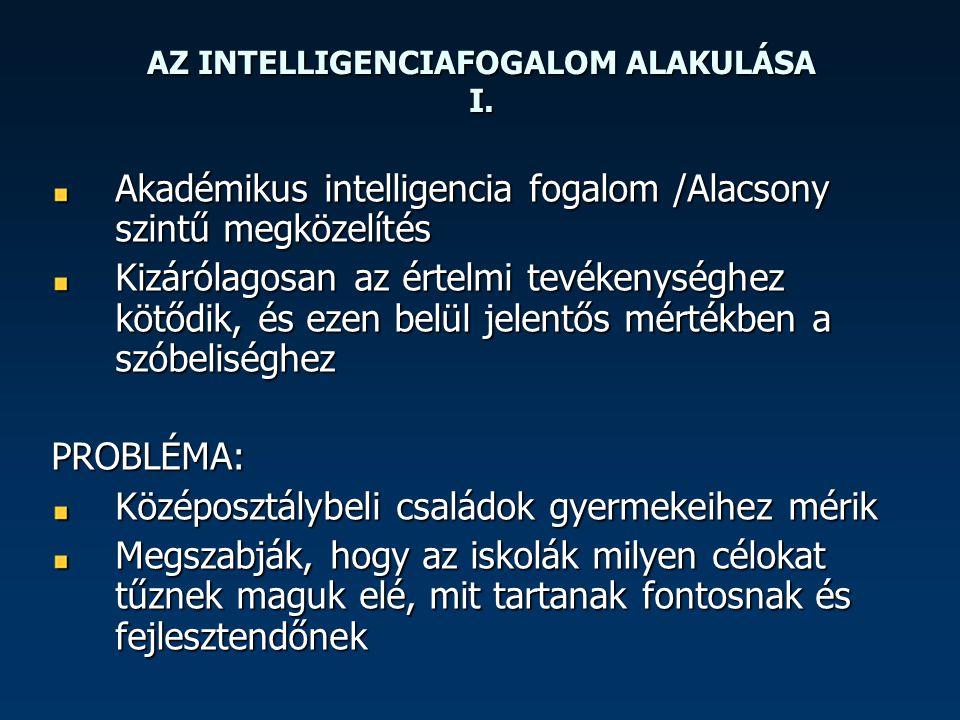 AZ INTELLIGENCIAFOGALOM ALAKULÁSA I. Akadémikus intelligencia fogalom /Alacsony szintű megközelítés Kizárólagosan az értelmi tevékenységhez kötődik, é
