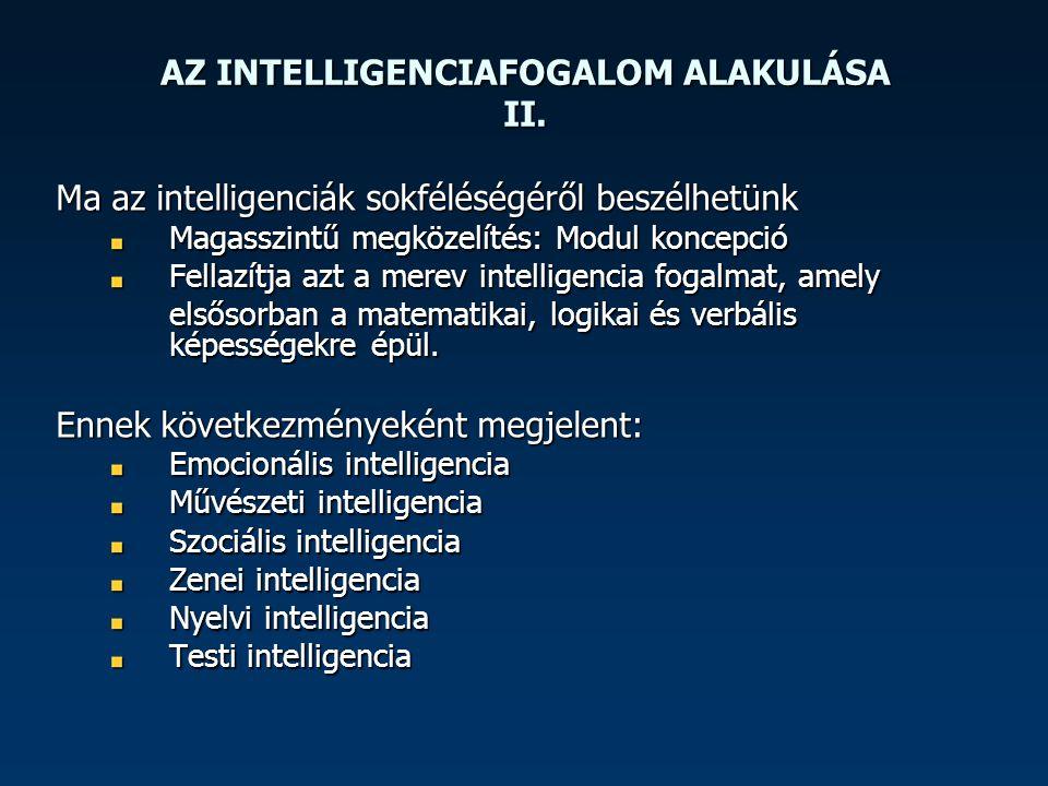 AZ INTELLIGENCIAFOGALOM ALAKULÁSA II. Ma az intelligenciák sokféléségéről beszélhetünk Magasszintű megközelítés: Modul koncepció Fellazítja azt a mere