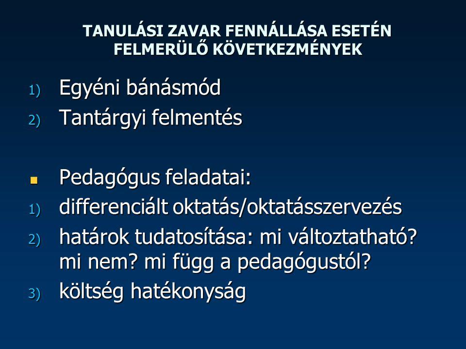 TANULÁSI ZAVAR FENNÁLLÁSA ESETÉN FELMERÜLŐ KÖVETKEZMÉNYEK 1) Egyéni bánásmód 2) Tantárgyi felmentés Pedagógus feladatai: 1) differenciált oktatás/okta