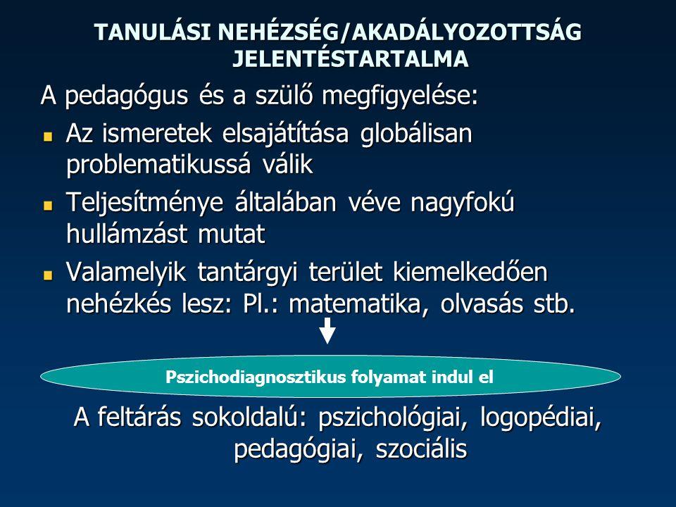 TANULÁSI NEHÉZSÉG/AKADÁLYOZOTTSÁG LEHETÉSGES OKAI I.