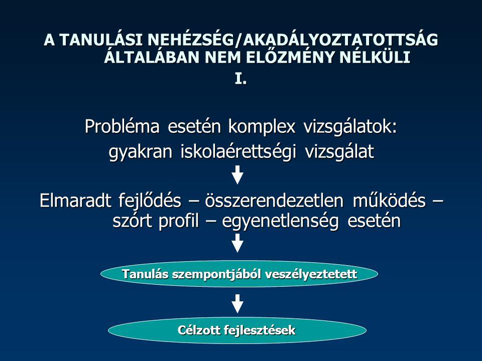 A TANULÁSI NEHÉZSÉG/AKADÁLYOZTATOTTSÁG ÁLTALÁBAN NEM ELŐZMÉNY NÉLKÜLI II.