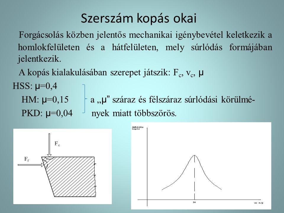 """3, """" hatása:  R = -(0.75-1.25) 4, egyéb hatások: munkadarab keménysége nő (HV) akkor Rz csökken hűtő- kenő folyadék alkalmazása, hatására Rz csökken - folyó forgács képződését segítik - súrlódás csökken - (forgácsolási sebesség nő hűtés hatására Rz csökken)"""