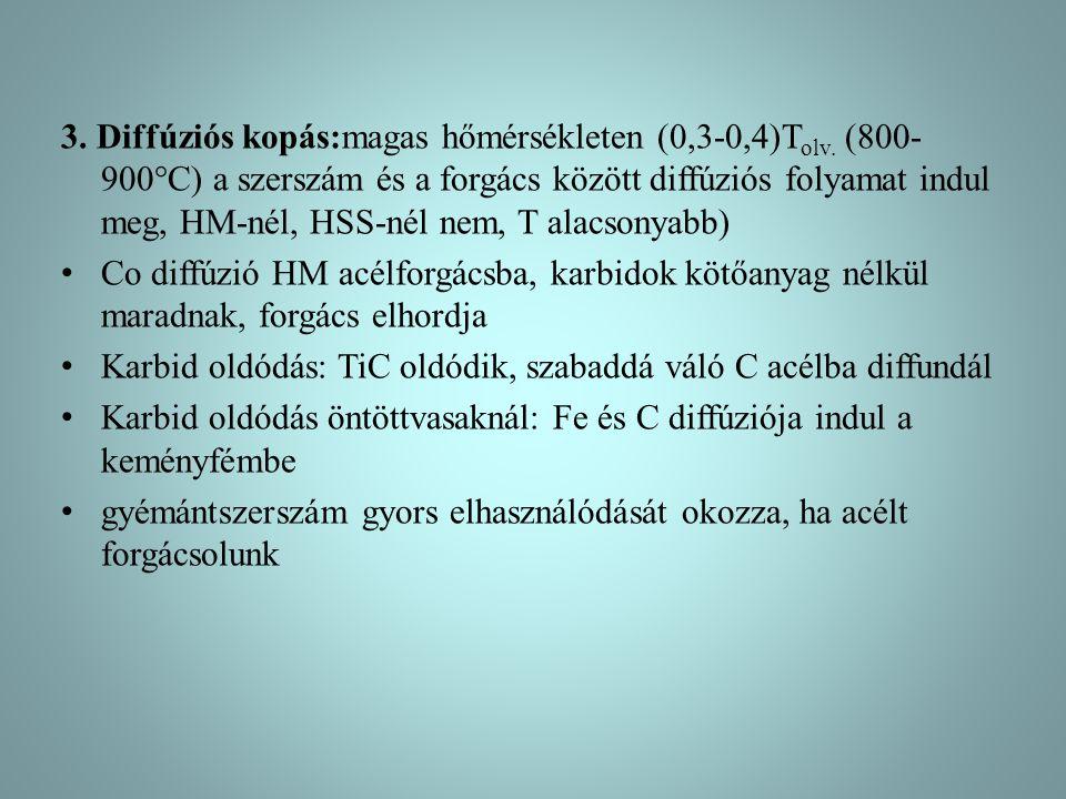 3. Diffúziós kopás:magas hőmérsékleten (0,3-0,4)T olv. (800- 900°C) a szerszám és a forgács között diffúziós folyamat indul meg, HM-nél, HSS-nél nem,