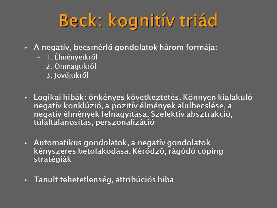 Beck: kognitív triád A negatív, becsmérlő gondolatok három formája: –1.