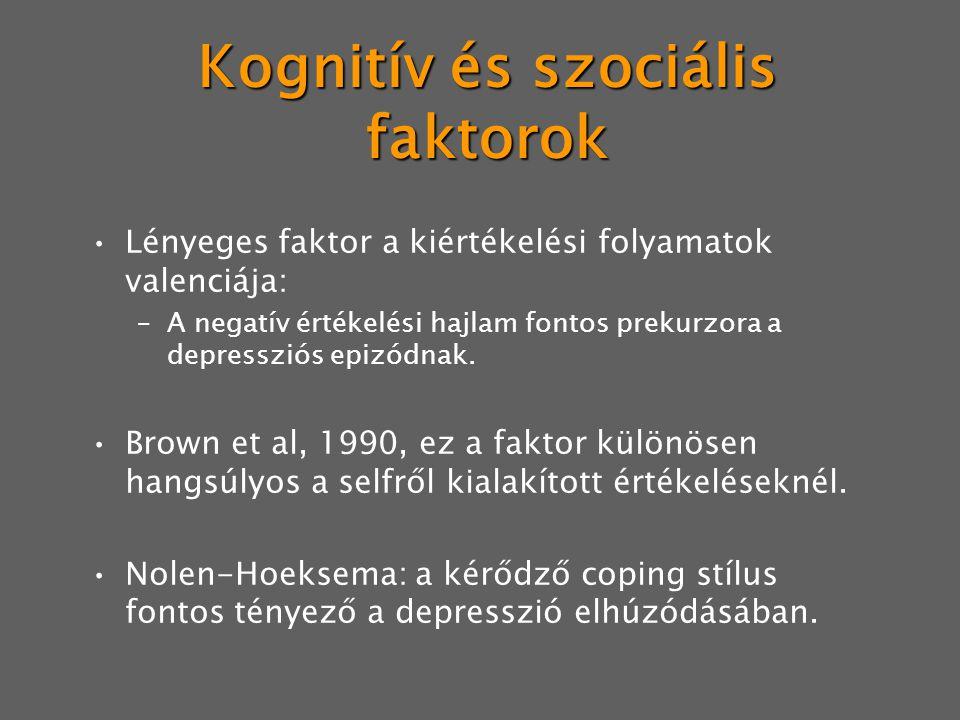 Kognitív és szociális faktorok Lényeges faktor a kiértékelési folyamatok valenciája: –A negatív értékelési hajlam fontos prekurzora a depressziós epizódnak.