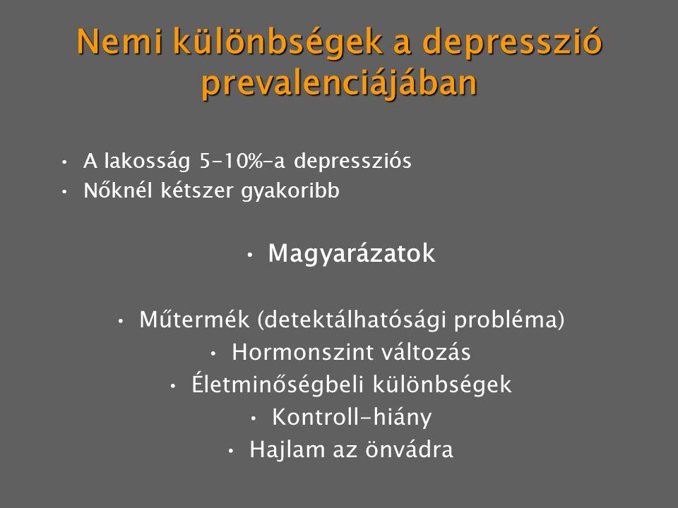 Nemi különbségek a depresszió prevalenciájában A lakosság 5-10%-a depressziós Nőknél kétszer gyakoribb Magyarázatok Műtermék (detektálhatósági probléma) Hormonszint változás Életminőségbeli különbségek Kontroll-hiány Hajlam az önvádra