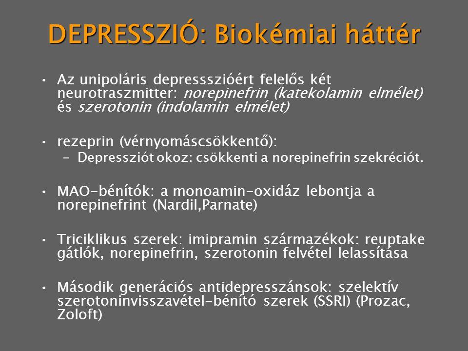 DEPRESSZIÓ: Biokémiai háttér Az unipoláris depressszióért felelős két neurotraszmitter: norepinefrin (katekolamin elmélet) és szerotonin (indolamin elmélet) rezeprin (vérnyomáscsökkentő): –Depressziót okoz: csökkenti a norepinefrin szekréciót.