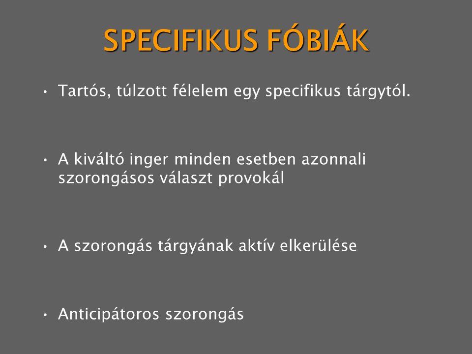 SPECIFIKUS FÓBIÁK Tartós, túlzott félelem egy specifikus tárgytól.