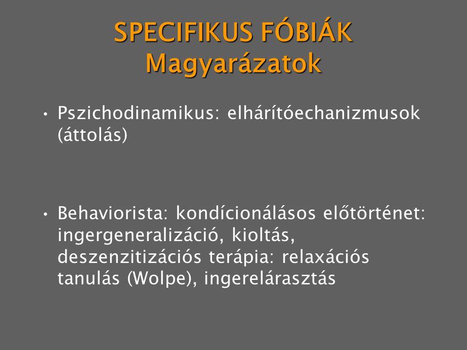 SPECIFIKUS FÓBIÁK Magyarázatok Pszichodinamikus: elhárítóechanizmusok (áttolás) Behaviorista: kondícionálásos előtörténet: ingergeneralizáció, kioltás, deszenzitizációs terápia: relaxációs tanulás (Wolpe), ingerelárasztás