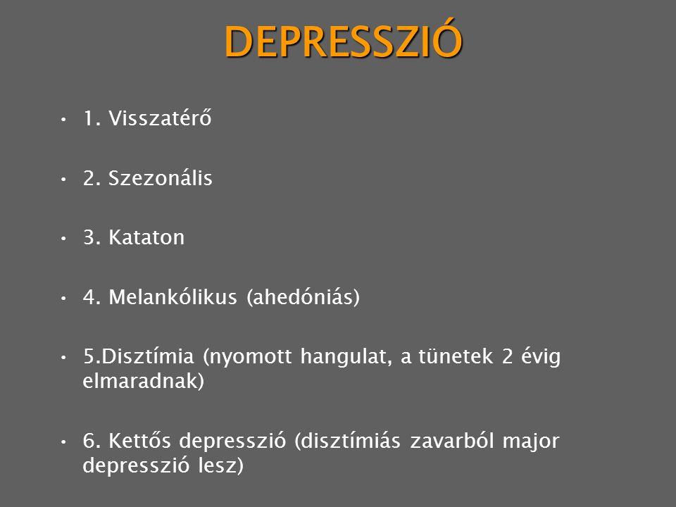 DEPRESSZIÓ 1.Visszatérő 2. Szezonális 3. Kataton 4.