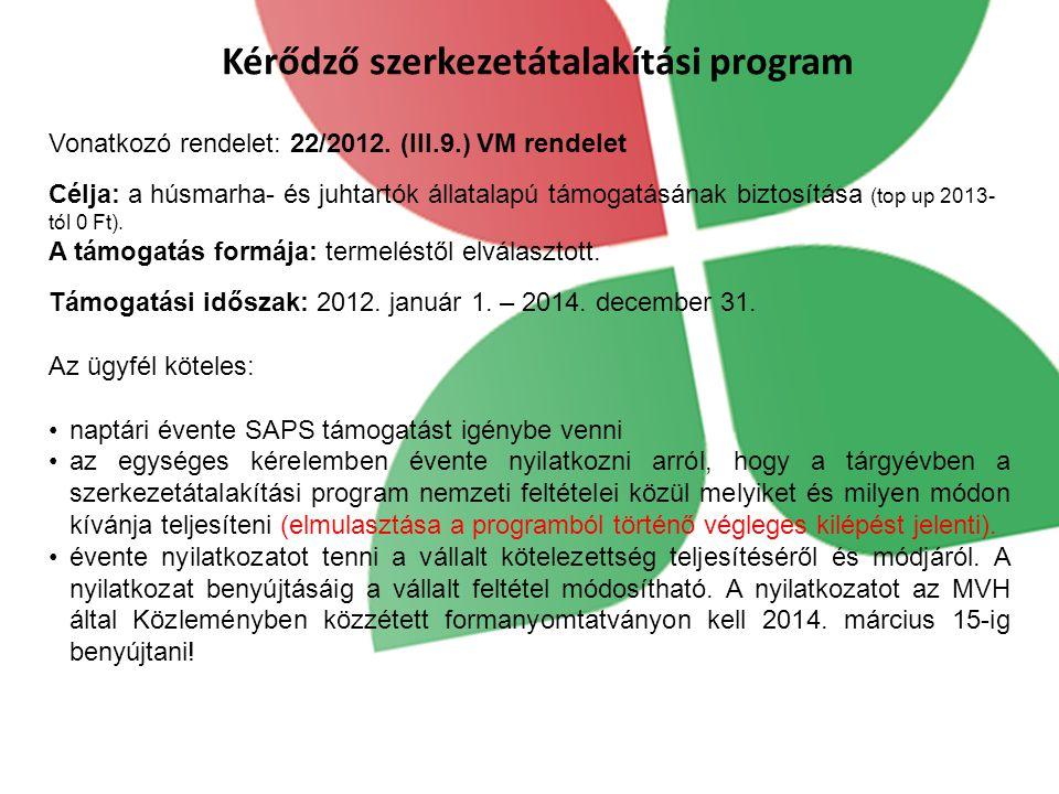 Kérődző szerkezetátalakítási program Támogatási időszak: 2012. január 1. – 2014. december 31. Az ügyfél köteles: naptári évente SAPS támogatást igényb