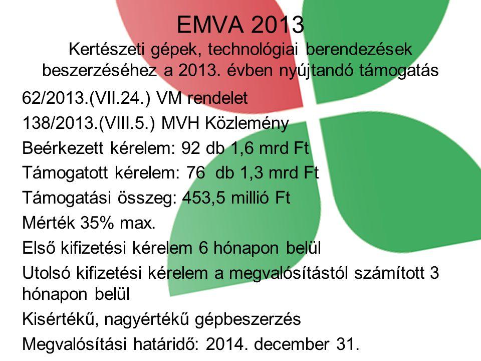 EMVA 2013 Kertészeti gépek, technológiai berendezések beszerzéséhez a 2013. évben nyújtandó támogatás 62/2013.(VII.24.) VM rendelet 138/2013.(VIII.5.)