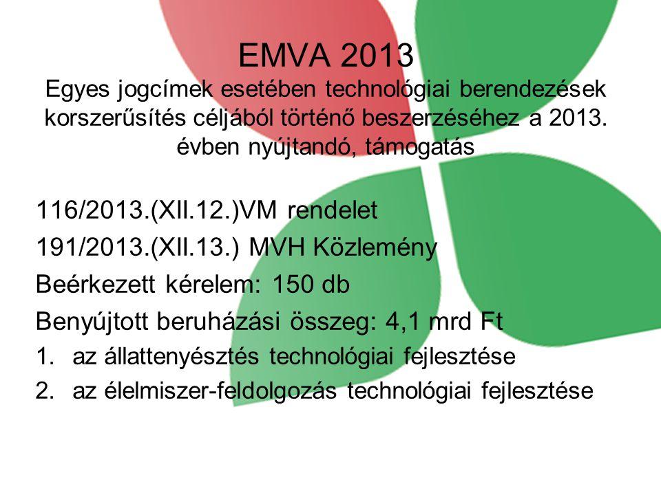 EMVA 2013 Egyes jogcímek esetében technológiai berendezések korszerűsítés céljából történő beszerzéséhez a 2013. évben nyújtandó, támogatás 116/2013.(