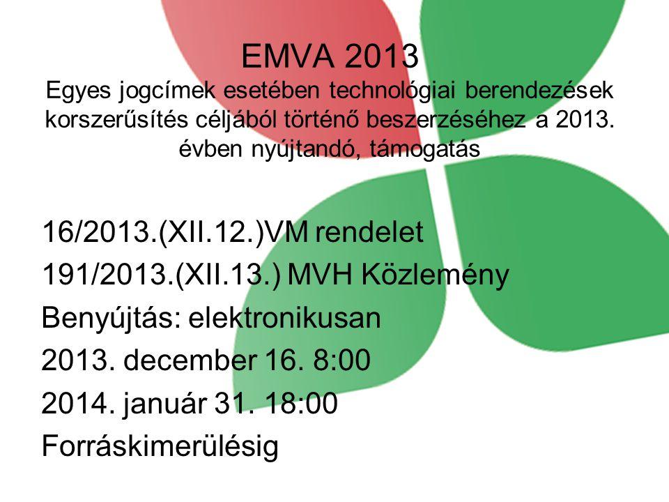 EMVA 2013 Egyes jogcímek esetében technológiai berendezések korszerűsítés céljából történő beszerzéséhez a 2013. évben nyújtandó, támogatás 16/2013.(X