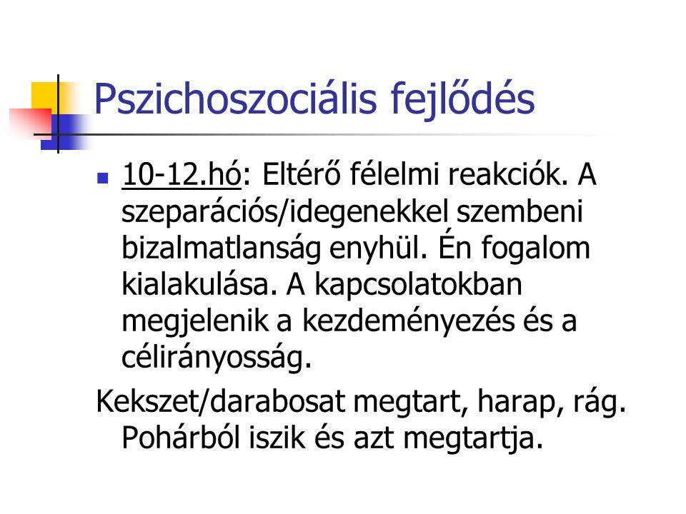 Pszichoszociális fejlődés 10-12.hó: Eltérő félelmi reakciók. A szeparációs/idegenekkel szembeni bizalmatlanság enyhül. Én fogalom kialakulása. A kapcs