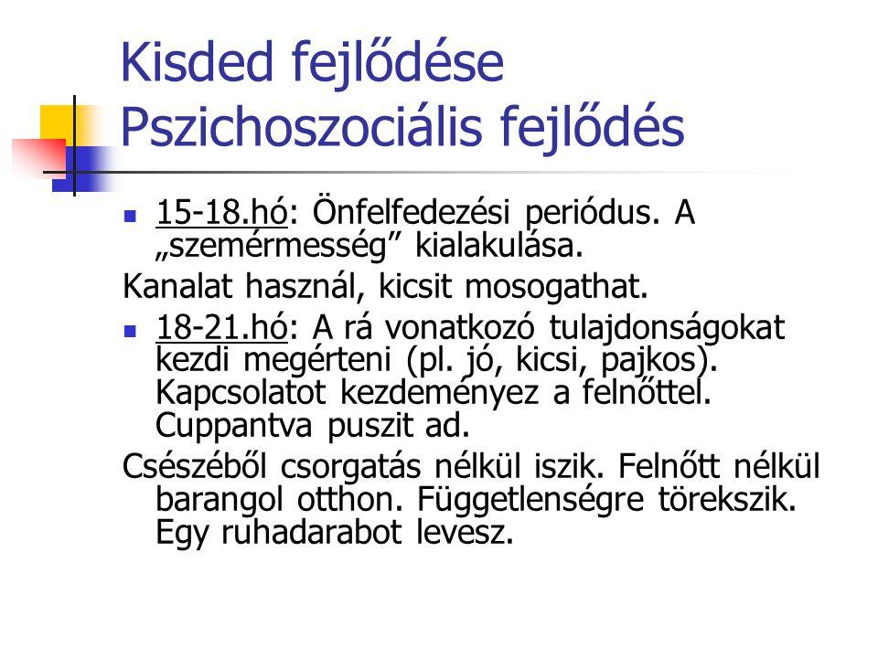 """Kisded fejlődése Pszichoszociális fejlődés 15-18.hó: Önfelfedezési periódus. A """"szemérmesség"""" kialakulása. Kanalat használ, kicsit mosogathat. 18-21.h"""