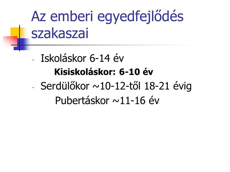 Az emberi egyedfejlődés szakaszai - Iskoláskor 6-14 év Kisiskoláskor: 6-10 év - Serdülőkor ~10-12-től 18-21 évig Pubertáskor ~11-16 év