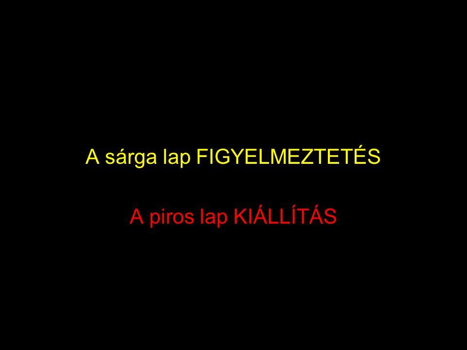A sárga lap FIGYELMEZTETÉS A piros lap KIÁLLÍTÁS