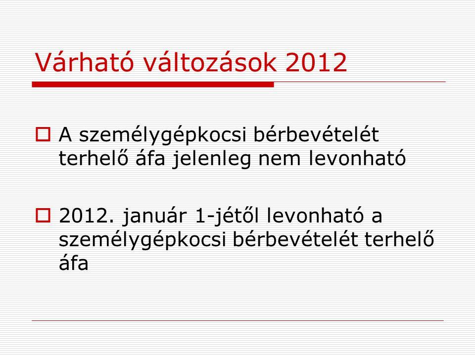 Várható változások 2012  A személygépkocsi bérbevételét terhelő áfa jelenleg nem levonható  2012.