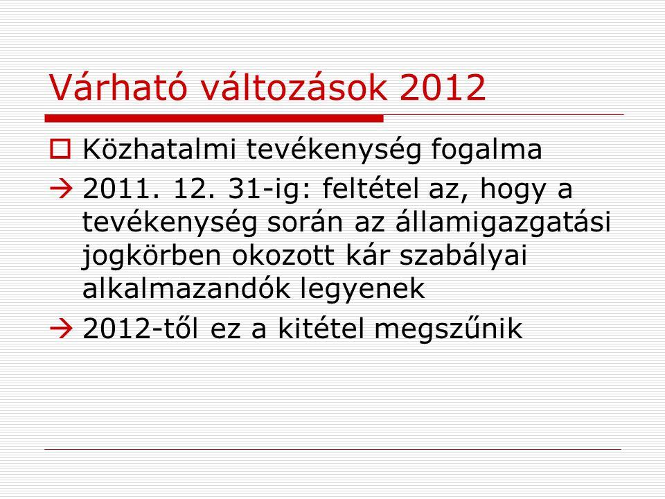 Várható változások 2012  Közhatalmi tevékenység fogalma  2011.