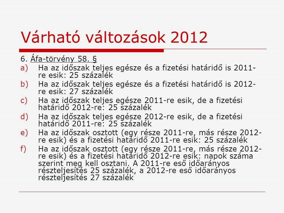 Várható változások 2012 6. Áfa-törvény 58.