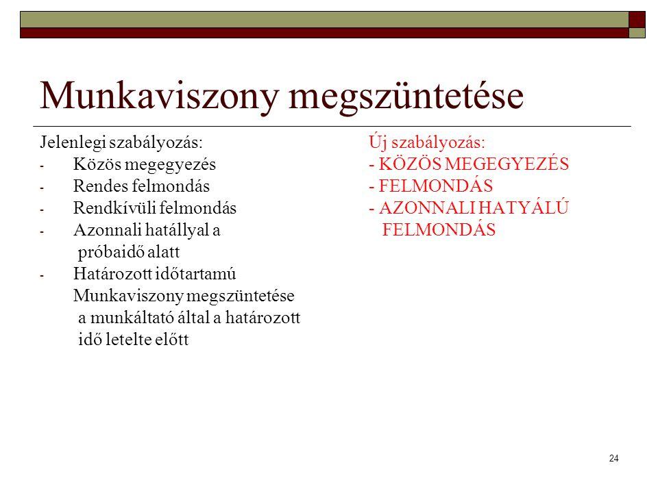 24 Munkaviszony megszüntetése Jelenlegi szabályozás:Új szabályozás: - Közös megegyezés- KÖZÖS MEGEGYEZÉS - Rendes felmondás- FELMONDÁS - Rendkívüli fe