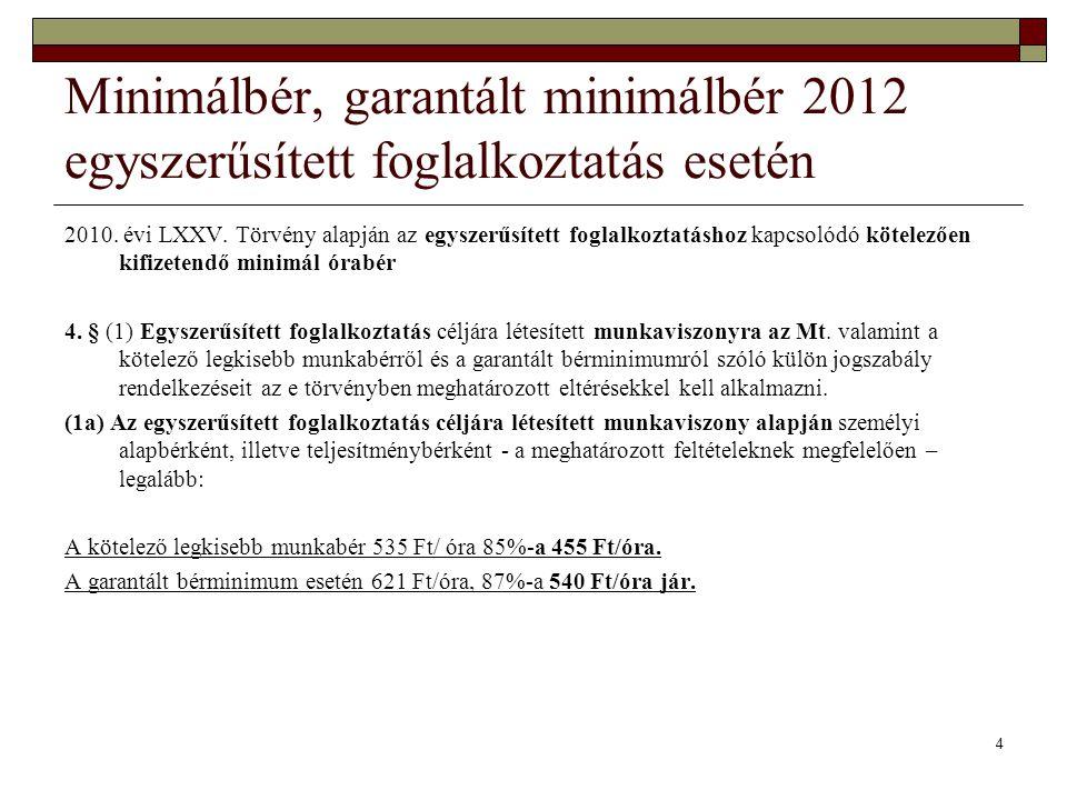 4 Minimálbér, garantált minimálbér 2012 egyszerűsített foglalkoztatás esetén 2010. évi LXXV. Törvény alapján az egyszerűsített foglalkoztatáshoz kapcs