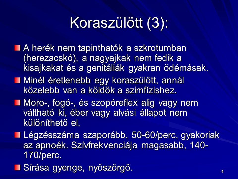 4 Koraszülött (3): A herék nem tapinthatók a szkrotumban (herezacskó), a nagyajkak nem fedik a kisajkakat és a genitáliák gyakran ödémásak. Minél éret