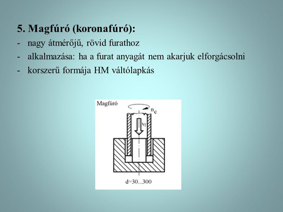 5. Magfúró (koronafúró): -nagy átmérőjű, rövid furathoz -alkalmazása: ha a furat anyagát nem akarjuk elforgácsolni -korszerű formája HM váltólapkás