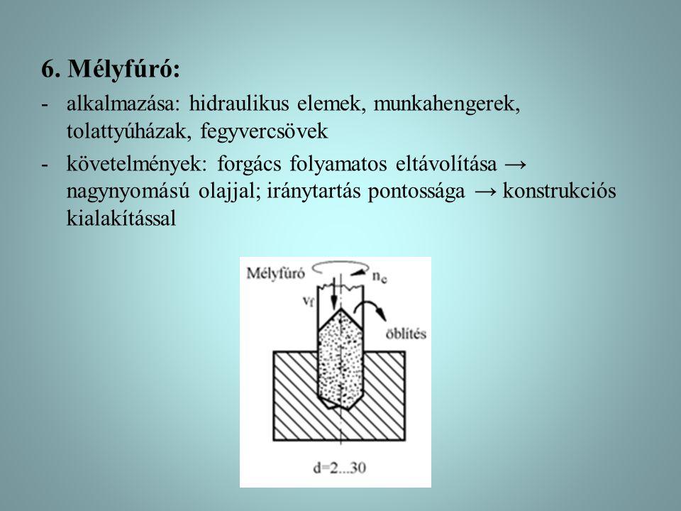 6. Mélyfúró: -alkalmazása: hidraulikus elemek, munkahengerek, tolattyúházak, fegyvercsövek -követelmények: forgács folyamatos eltávolítása → nagynyomá