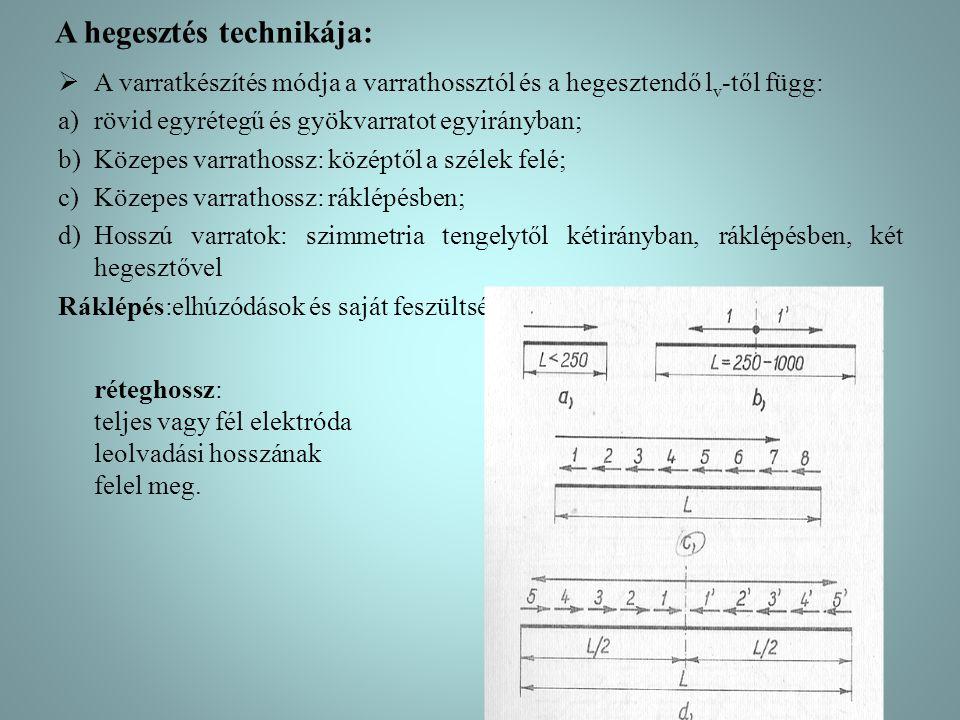A hegesztés technikája:  A varratkészítés módja a varrathossztól és a hegesztendő l v -től függ: a)rövid egyrétegű és gyökvarratot egyirányban; b)Köz