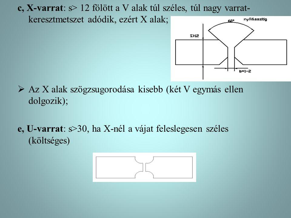 c, X-varrat: s> 12 fölött a V alak túl széles, túl nagy varrat- keresztmetszet adódik, ezért X alak;  Az X alak szögzsugorodása kisebb (két V egymás
