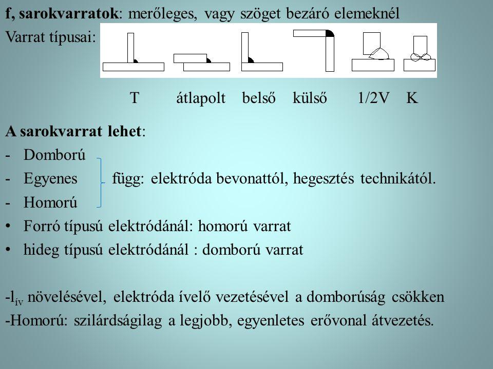 f, sarokvarratok: merőleges, vagy szöget bezáró elemeknél Varrat típusai: A sarokvarrat lehet: -Domború -Egyenes függ: elektróda bevonattól, hegesztés
