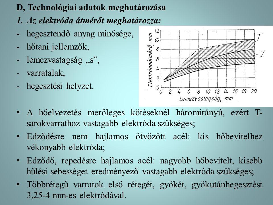 """D, Technológiai adatok meghatározása 1.Az elektróda átmérőt meghatározza: -hegesztendő anyag minősége, -hőtani jellemzők, -lemezvastagság """"s"""", -varrat"""